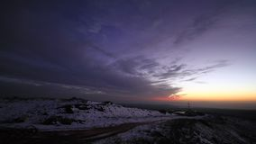 Time lapse in the snow. Time lapse video The movement of the clouds  in the snow. The Golan Heights Mount Hermon Israel stock video