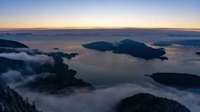 Time Lapse from St Mark`s Summit of Howe Sound Sunset stock footage