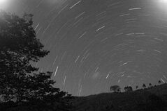 Time Lapse of Stars During Earth's Rotation Stock Image
