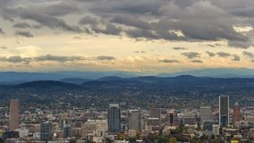 Time lapse of stormy clouds over Portland OR urban cityscape in autumn season 4k. Time lapse movie of stormy clouds and sky over Portland Oregon downtown urban stock video