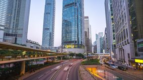 Time lapse of street and traffic road in Hong Kong city day to night time lapse 4K
