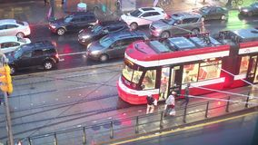 Time lapse of a streetcar in Toronto, Canada. Toronto, Canada - Oct 15, 2017: Time lapse of a streetcar in the city of Toronto at a rainy night. Province of stock video