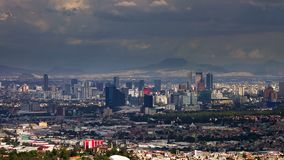 Stunning panoramic view of mexico city in a cloudy day. Time lapse. Stunning panoramic view of Mexico City in a cloudy day. Clouds pass fast stock video
