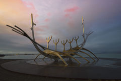 Time lapse of the Sun Voyager in Reykjavik, Iceland Stock Photo