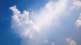 Time lapse sunbeam Shine through the cloud on the blue sky. Sun rays . landscape stock video footage