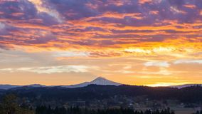 Time lapse of sunrise and clouds over Happy Valley, Oregon with Mt Hood early morning stock video