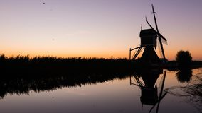 Time lapse of sunrise at the mill of Groot-Ammers stock video