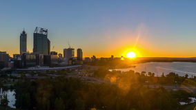 Time lapse. Sunrise at Perth city skyline, Australia stock footage