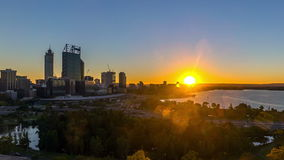 Time lapse. Sunrise at Perth city skyline, Australia