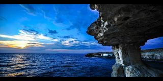 Time Lapse Sunset at The Caves Cyprus  (4K) Stock Image