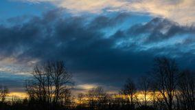 Time lapse of sunset and clouds in Foster Floodplain Natural Area in Portland Oregon one winter evening stock footage