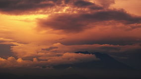 Time lapse of the sunset with clouds stock video footage
