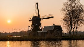 Time lapse of sunset mill in Woerdens Verlaat stock video footage