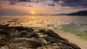 Time lapse sunset on sea of koh lipe island, thail Royalty Free Stock Photo