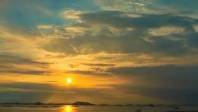 Time lapse of sunset sky at sea with Si Chang island background stock video