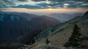 Time lapse at sunset in Slovakia Mountain, Mala Fatra stock footage