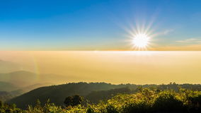 Time lapse sunset on valley of doi inthanon national park chiang mai, thailand stock video footage