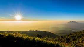 Time lapse sunset on valley of doi inthanon national park chiang mai, thailand stock video