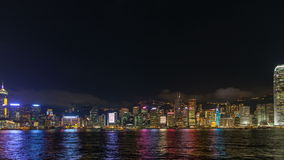 Time lapse of Symphony of Lights show in Central Hong Kong 1080p. Time lapse of Symphony of Lights show at Central Hong Kong viewed from Tsim Sha Tsui in Kowloon stock video