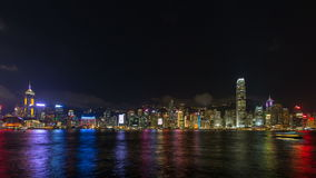 Time lapse of Symphony of Lights show at Central Hong Kong viewed from Tsim Sha Tsui in Kowloon, Hong Kong. This is a nightly lights and sound show and is a stock video footage