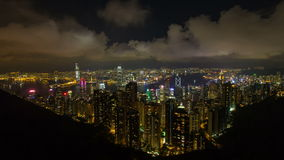 Time lapse of Symphony of Lights show at Central Hong Kong viewed from Victoria Peak stock video