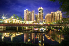 Time lapse of Taipei cityscape at twilight in Taiwan city. The time lapse of Taipei cityscape at twilight in Taiwan city Stock Photos