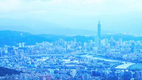 Time lapse of Taipei, Taiwan evening skyline. Royalty Free Stock Image