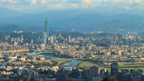 Time lapse of Taipei, Taiwan evening skyline. Stock Image