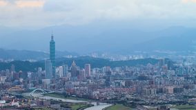 Time lapse of Taipei, Taiwan evening skyline. Stock Photography