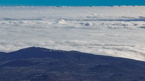 Teide observatory on top of the clouds timelapse, Tenerife, Spain stock footage
