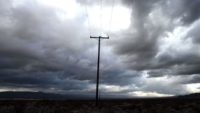 Time Lapse of Telephone Pole the Mojave Desert Storm Clouds -4K
