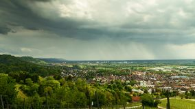 Time lapse - Thunderclouds over the city of Bensheim stock video