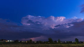 Time Lapse Thunderstorm And Lightning In Sky. (zoom out stock video