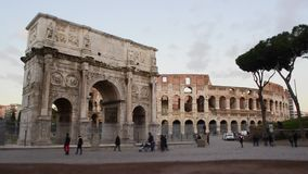 Time Lapse Tilt Shift -Arch of Constantine and The Colosseum, Rome stock video