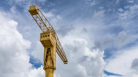 Time lapse on the Titan yellow crane in Nantes France stock video footage