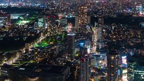 Time lapse of Tokyo city at night, Japan stock video footage