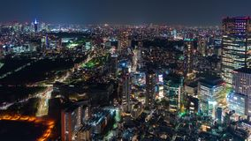 Time lapse of Tokyo city at night, Japan stock footage