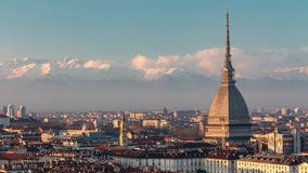 Time Lapse Torino With The Mole Antonelliana Italy. Italian City Landscape of Turin With The Mole Antonelliana and the alps stock video footage