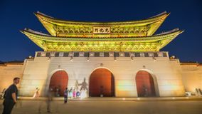 Time lapse of tourists swarming through Gyeongbokgung Palace in Seoul City,South Korea. stock footage