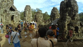 Time Lapse of Tourists at Temple of Bayon Angkor Cambodia stock video