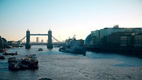 Time lapse. Tower Bridge on the Thames River. stock video footage