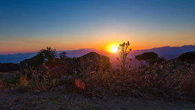 Time lapse tracking shot of sunset mountains stock video footage
