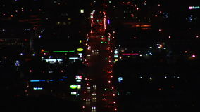 Time lapse of traffic and colorful lights at night stock footage