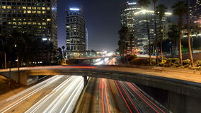 Time Lapse of Traffic in Downtown Los Angeles at Night - 4K stock footage