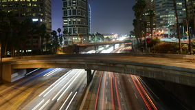 Time Lapse of Traffic in Downtown Los Angeles at Night - 4K stock video footage