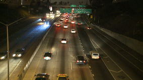 Time Lapse of Traffic on the 101 Freeway at Night  Los Angeles stock video footage