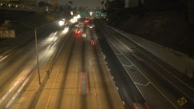 Time Lapse of Traffic on the 101 Freeway at Night  Los Angeles stock video