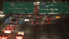 Time Lapse of Traffic on the 101 Freeway at Night  Los Angeles stock footage