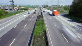 Time lapse of traffic on German highway. Time lapse of commuter traffic on German highway A5 - view from above stock video footage