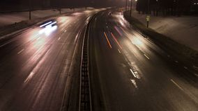 Time Lapse of Traffic. The road at night.  stock video footage